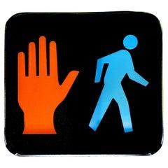Glass Pedestrian Crossing Sign