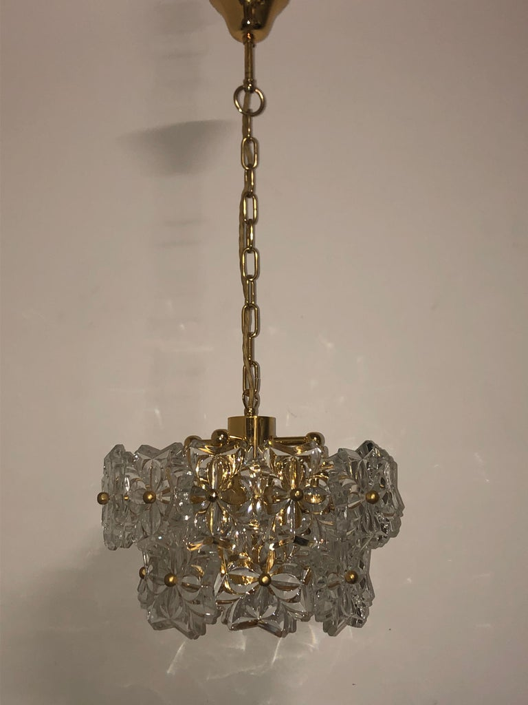 Glass Pendant by Kinkeldey, Brass and Flower Crystal, circa 1960s For Sale 6