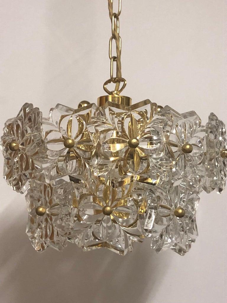 Mid-Century Modern Glass Pendant by Kinkeldey, Brass and Flower Crystal, circa 1960s For Sale
