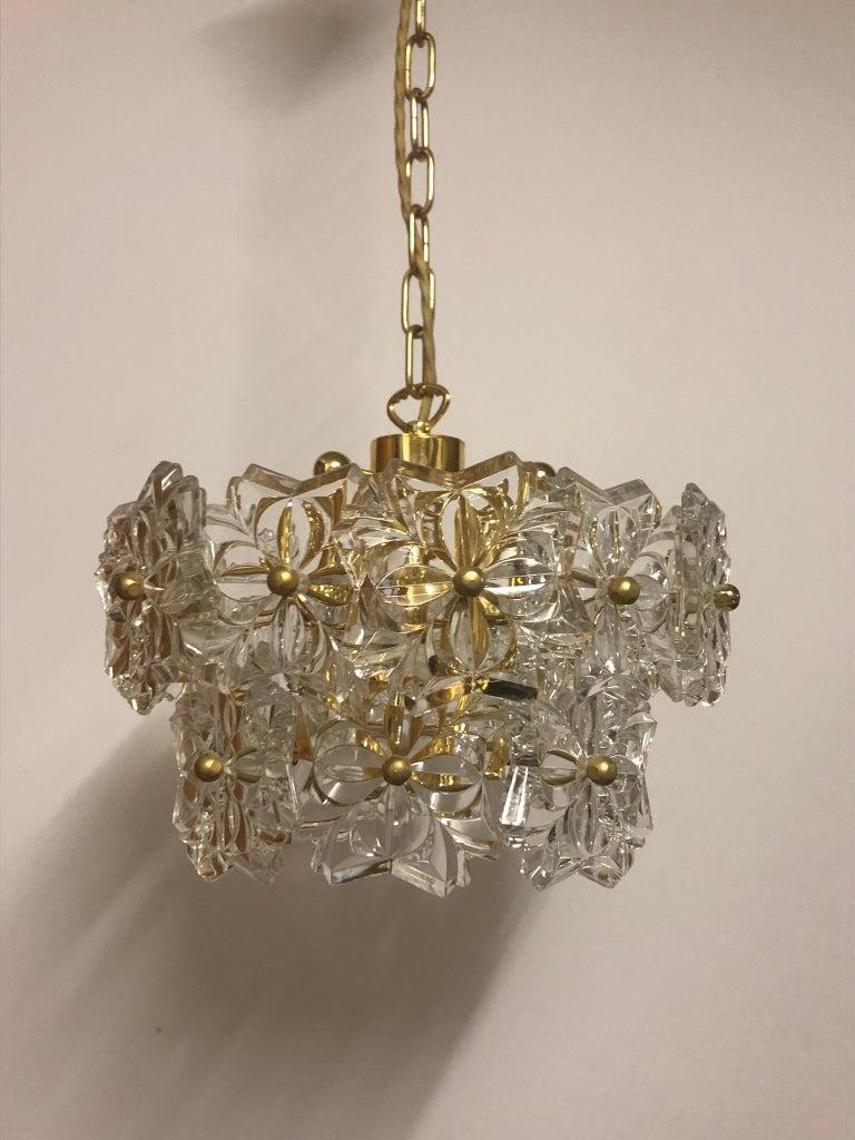 German Glass Pendant by Kinkeldey, Brass and Flower Crystal, circa 1960s For Sale