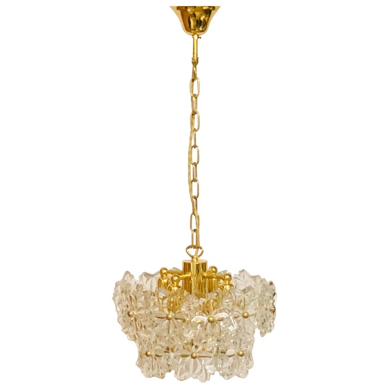Glass Pendant by Kinkeldey, Brass and Flower Crystal, circa 1960s For Sale