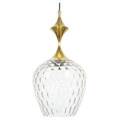 Glass Pendant Lamp with Spindle Shaped Brass Work, Italy, circa 1960