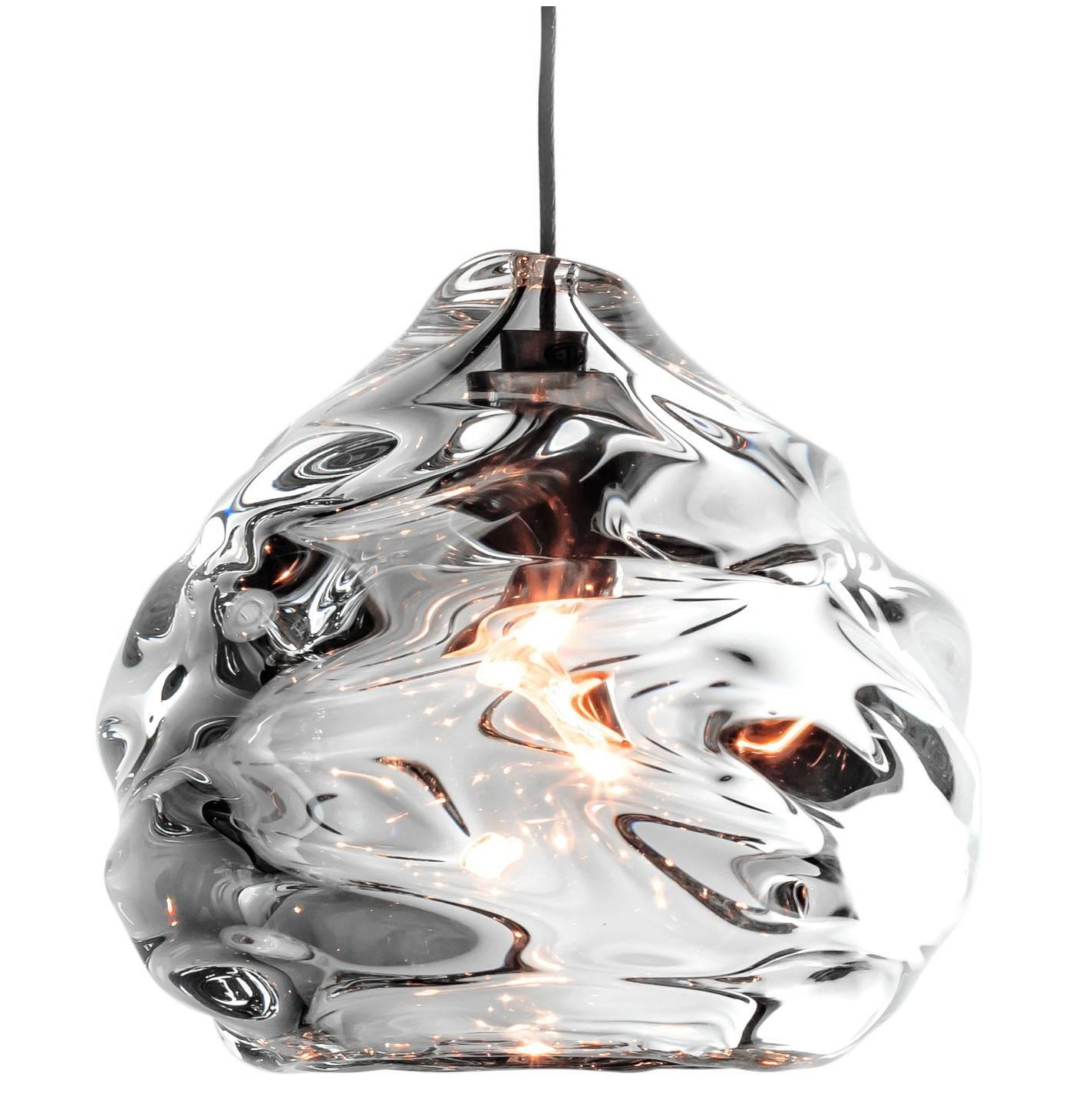 Small Clear Happy Pendant Light, Hand Blown Glass - Made to Order