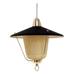 Glass Pendant with Black Shade & Brass Details - Danish Vintage from the 1940s