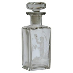 Glass Perfume Bottle with Mary Gregory White Enameled Boy, circa 1900
