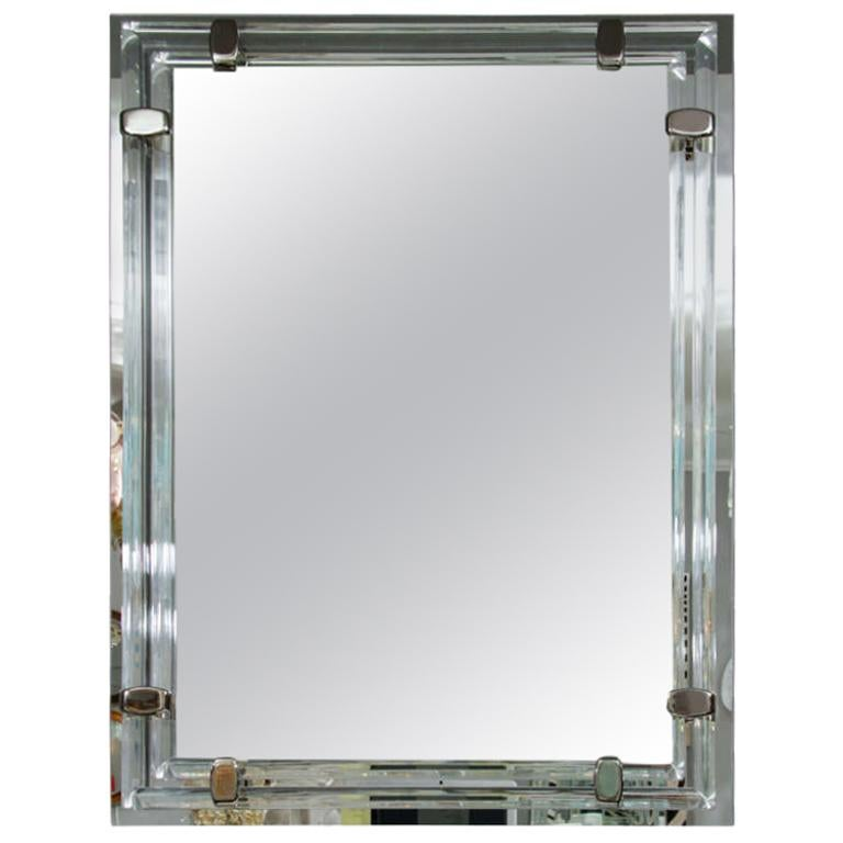 Glass Rod and Polished Nickel Tubular Mirror For Sale