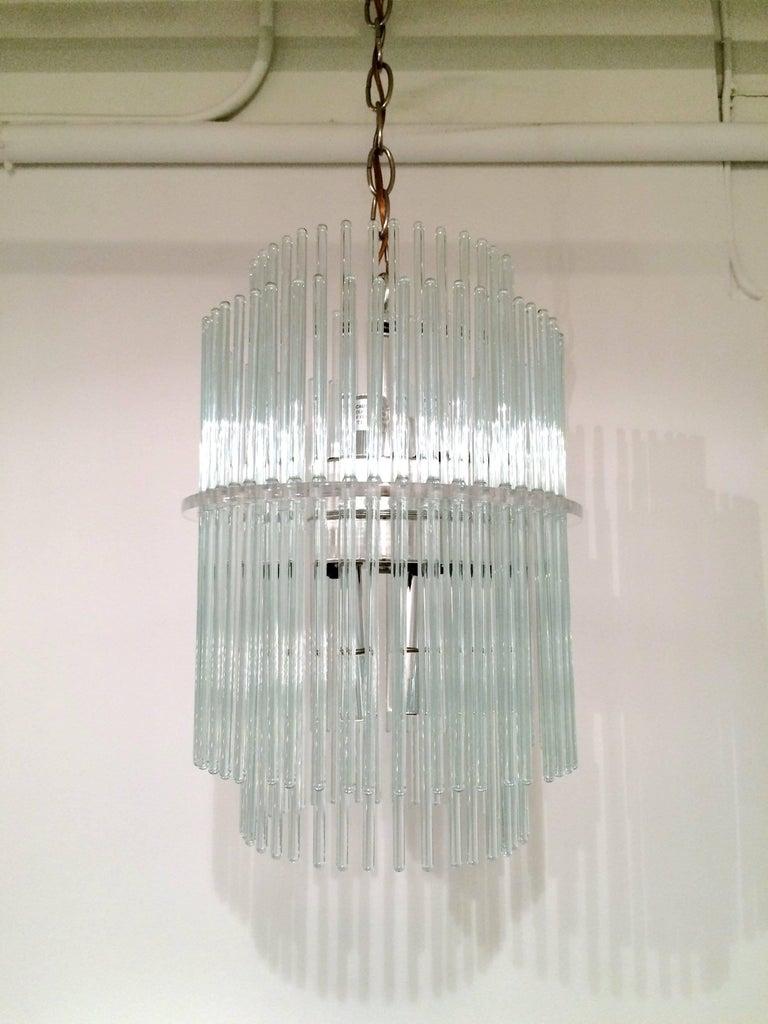 Mid-Century Modern Glass Rod Chandelier by Gaetano Sciolari for Lightolier For Sale