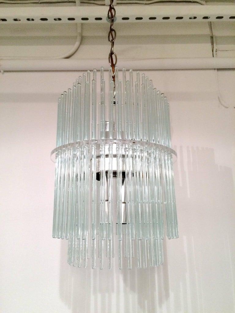 American Glass Rod Chandelier by Gaetano Sciolari for Lightolier For Sale