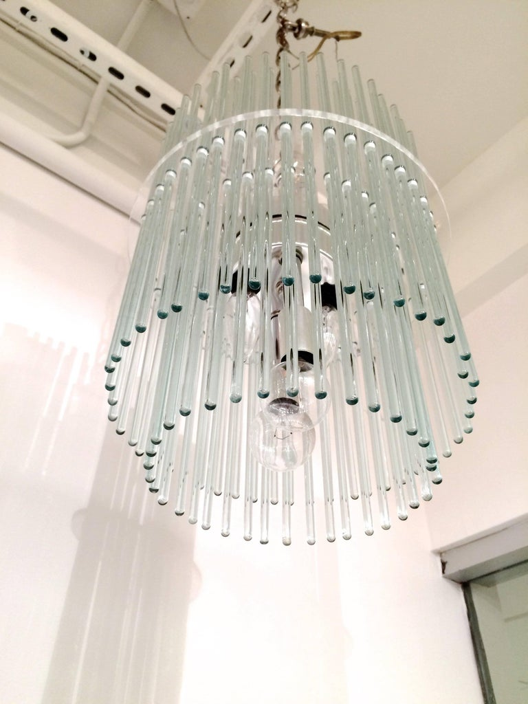 Glass Rod Chandelier by Gaetano Sciolari for Lightolier In Good Condition For Sale In New York, NY