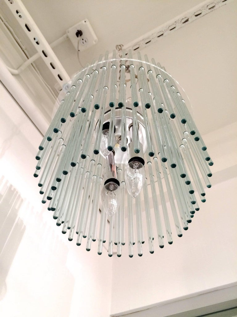 20th Century Glass Rod Chandelier by Gaetano Sciolari for Lightolier For Sale