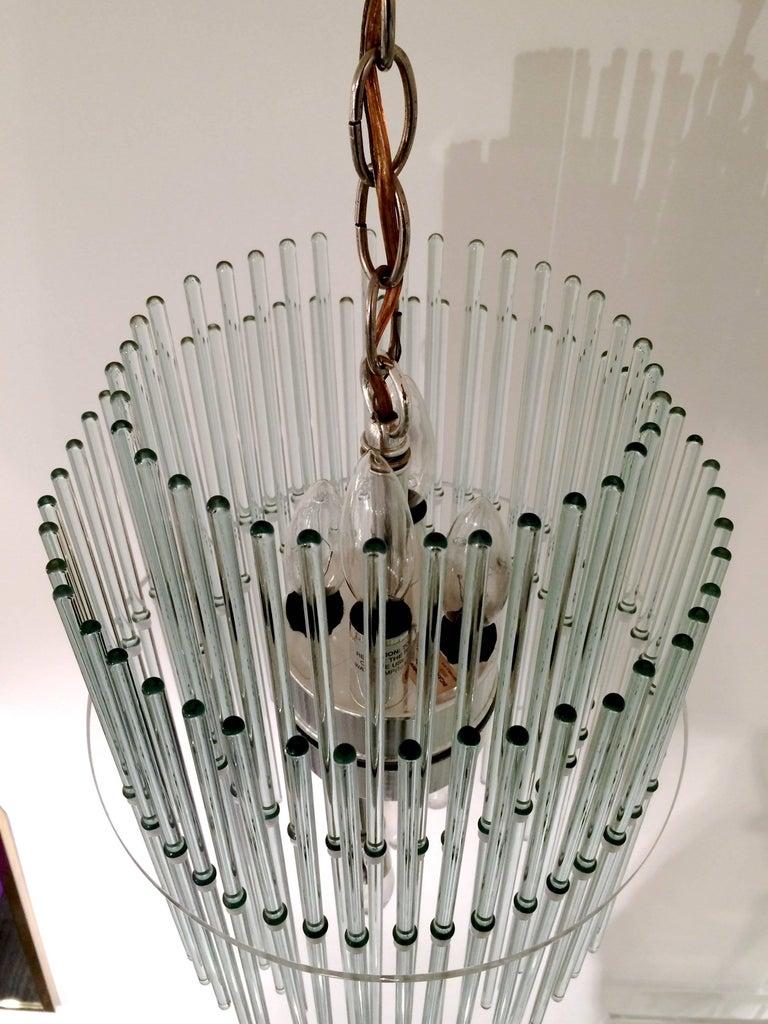 Glass Rod Chandelier by Gaetano Sciolari for Lightolier For Sale 1