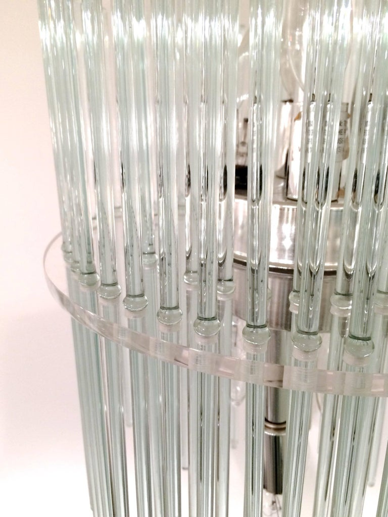 Glass Rod Chandelier by Gaetano Sciolari for Lightolier For Sale 2