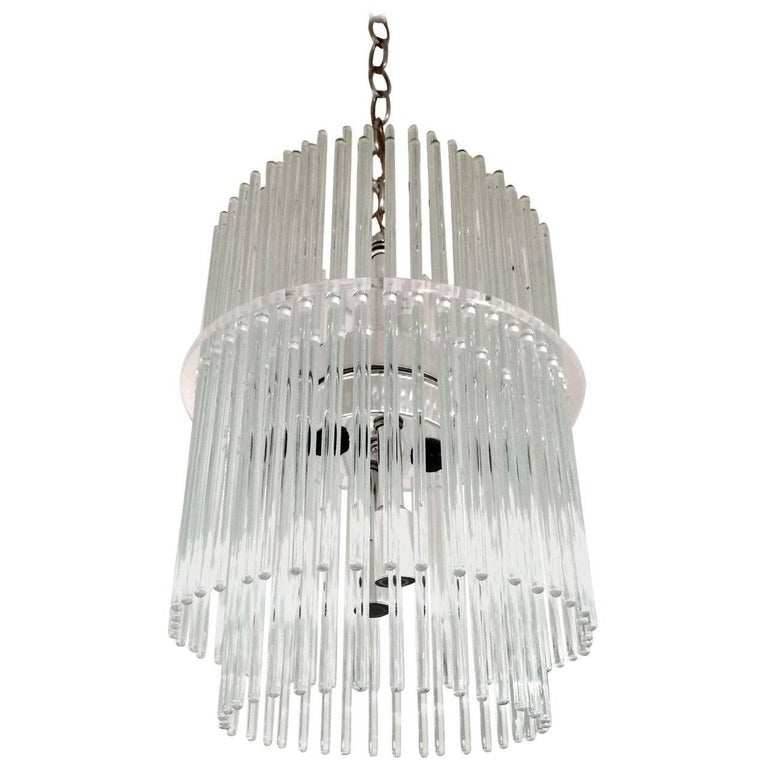 Glass Rod Chandelier by Gaetano Sciolari for Lightolier
