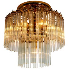 Glass Rod Waterfall Flush Mount Sciolari for Lightolier, 1970
