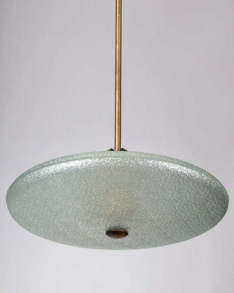 American Glass Saucer Pendant, circa 1950 For Sale