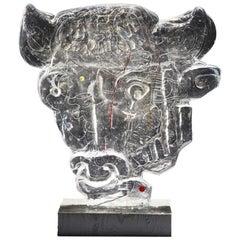"Glass Sculpture ""Bull Head"" by Edvin Öhrström for Lindshammar Glasswork, 1960s"