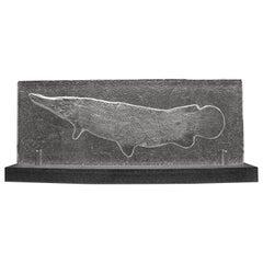 Glass Sculpture, Cast from 50 Million Year Old Eocene Era Fossil Fish Gar