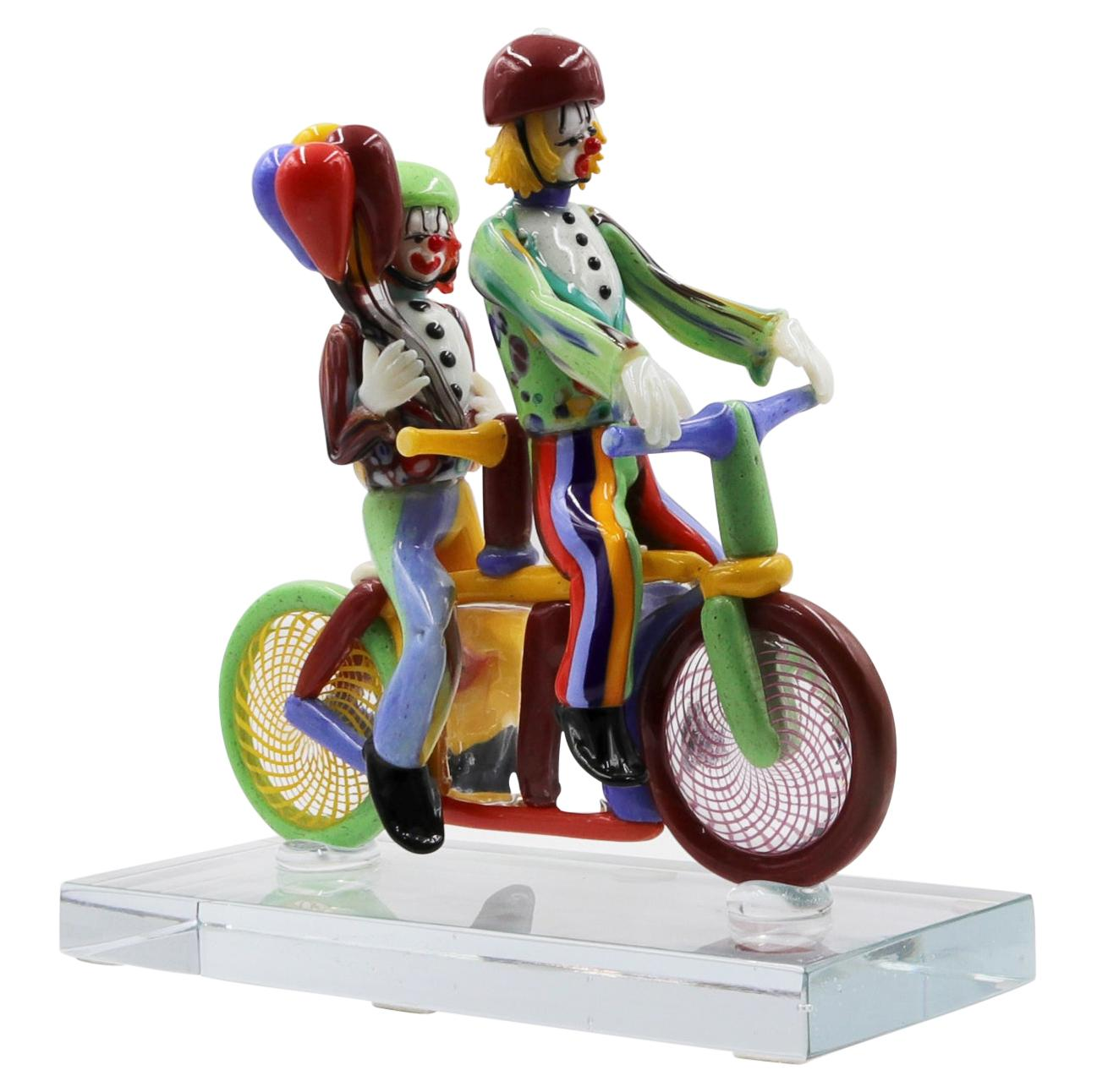 Glass Sculpture Clown Signed and Made by Pino Signoretto, Murano, Italy