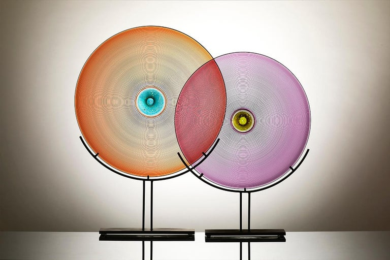 Modern Glass Sculpture, Round, in Coral Apricot with Aqua Blue and Gold, by Vetro Vero For Sale