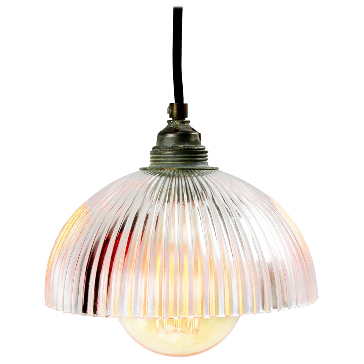 Glass Shade Industrial Holophane Glass Hanging Lights