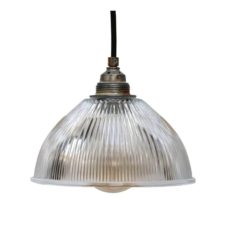 Holophane lampshade. Metal bulb holder with glass shade. 2 meter black wire.  Weight: 0.9 kg / 2 lb  Priced per individual item. All lamps have been made suitable by international standards for incandescent light bulbs, energy-efficient and LED