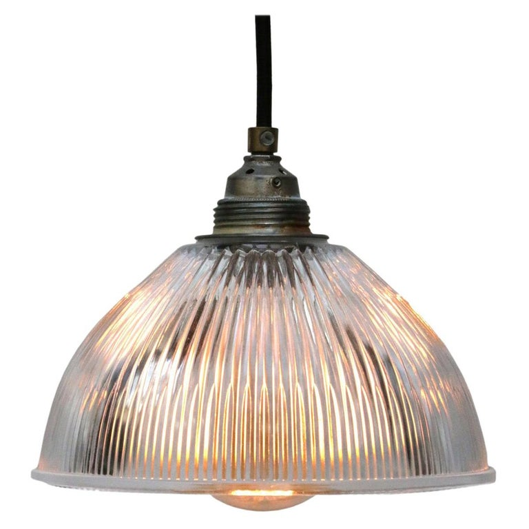 Glass Shade Industrial Holophane Glass Hanging Pendant Lights For Sale