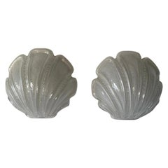 Glass Shell Shaped Rare Pair of Sconces by Limburg, 1970s Germany