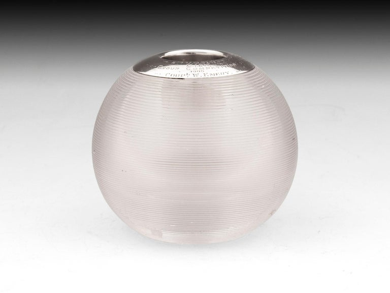 Large clear glass match striker with a sterling silver engraved top by Birmingham silversmith John Grinsell & Sons.