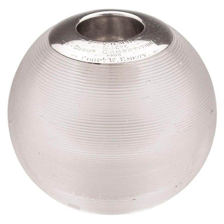 Glass Silver Globe Match Striker, 20th Century For Sale