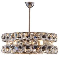Large Crystalglass and Brass Chandelier Vienna Mid Century Modern, Re-Edition