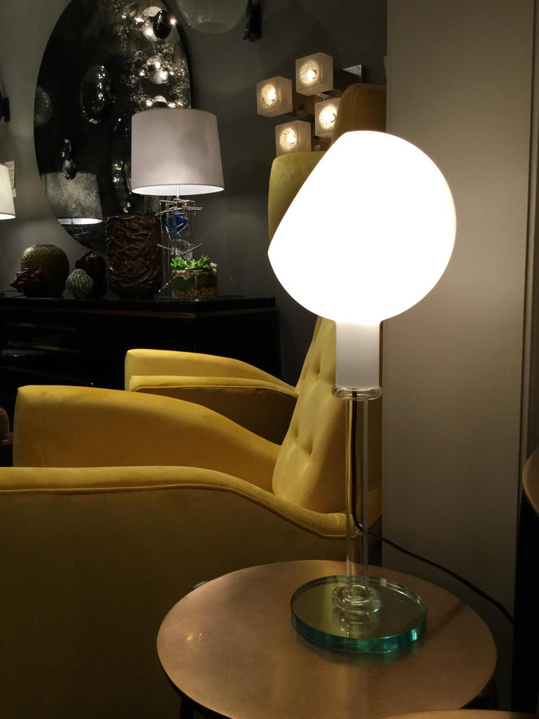 Glass Table Lamp by Fontana Arte, Italy, 1980s For Sale 6