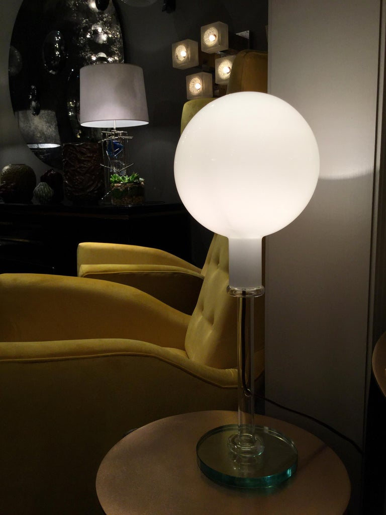 Glass Table Lamp by Fontana Arte, Italy, 1980s For Sale 1