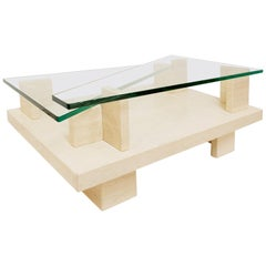 Glass Top and Travertine Graphic Coffee Table