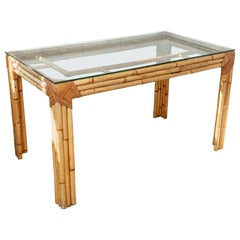 Glass Top Bamboo Desk/Table