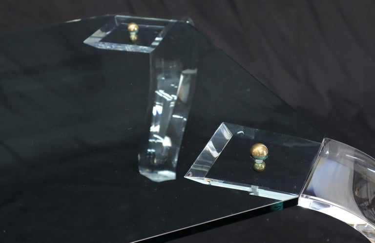 Glass Top Bent Lucite Legs Rectangular Coffee Table For Sale 5