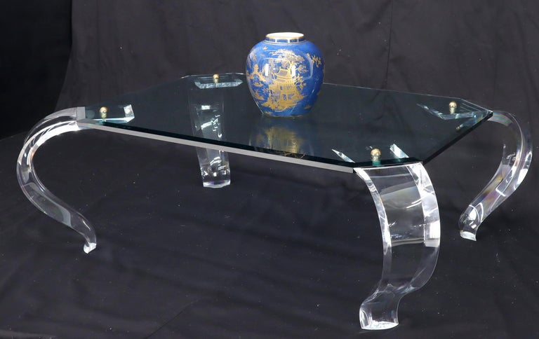 Glass Top Bent Lucite Legs Rectangular Coffee Table For Sale 6