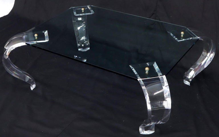 Mid-Century Modern Glass Top Bent Lucite Legs Rectangular Coffee Table For Sale