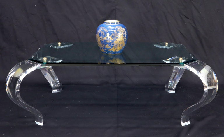20th Century Glass Top Bent Lucite Legs Rectangular Coffee Table For Sale