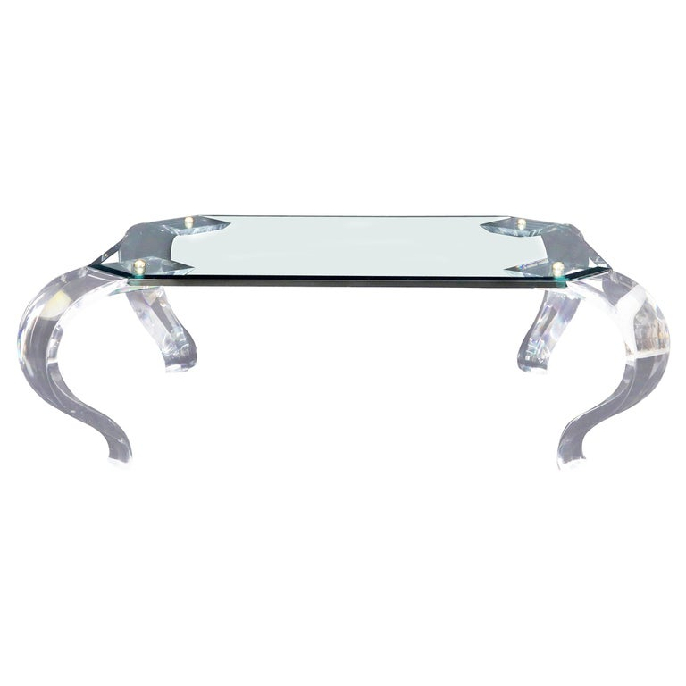 Glass Top Bent Lucite Legs Rectangular Coffee Table For Sale