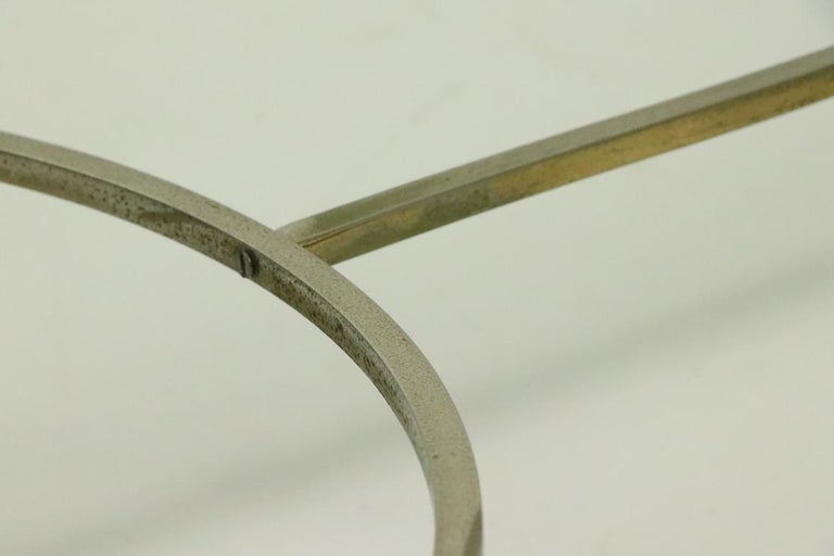 Glass Top Chrome and Brass Coffee Table after Maison Jansen For Sale 5