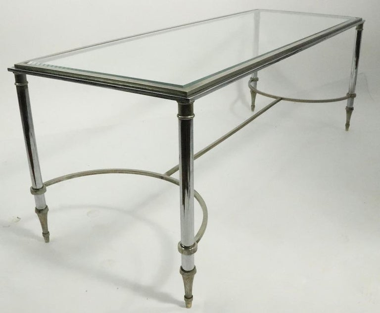 Glass Top Chrome and Brass Coffee Table after Maison Jansen For Sale 8