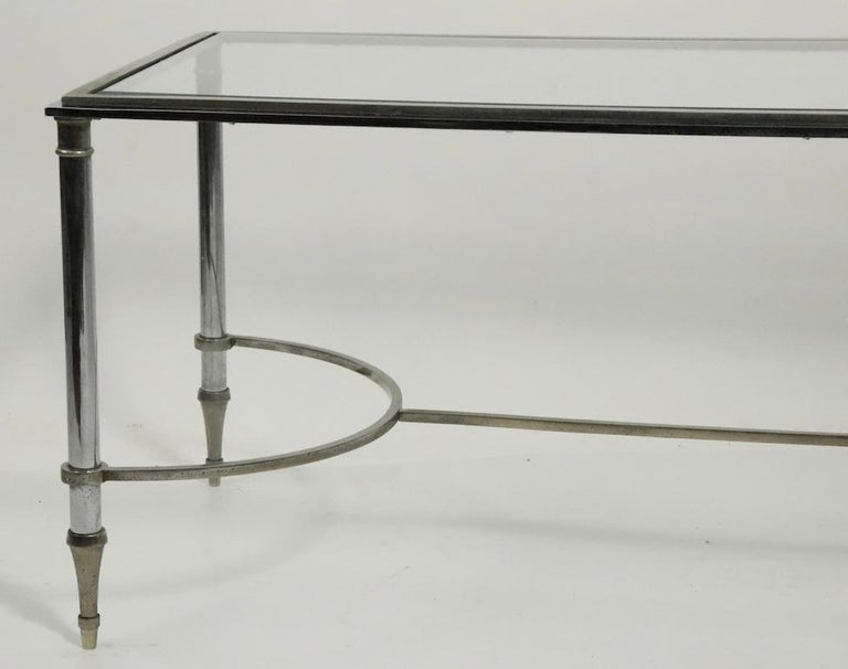 Glass Top Chrome and Brass Coffee Table after Maison Jansen For Sale 1