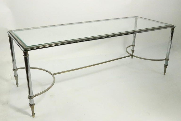 Glass Top Chrome and Brass Coffee Table after Maison Jansen For Sale 3