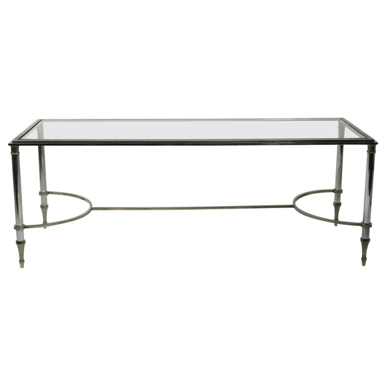 Glass Top Chrome and Brass Coffee Table after Maison Jansen For Sale