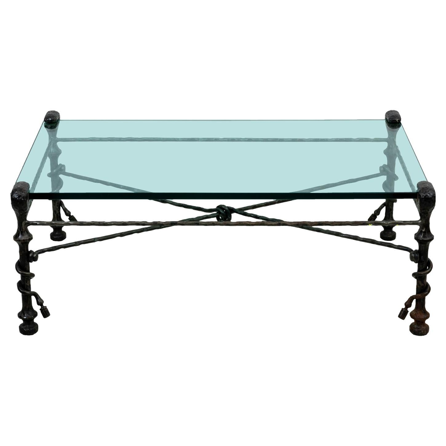 Glass Top Coffee Table in the Manner of Alberto Giacometti