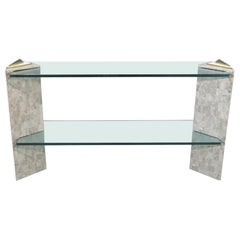 Glass Top Console Table in the Style of Maitland-Smith