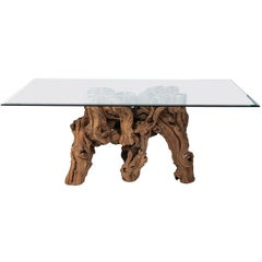 Vintage Glass Top Cypress Tree Root Dining Table