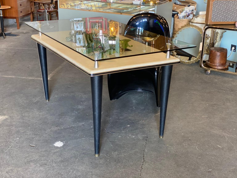 Mid-Century Modern Glass Top Dining Table, Italy, 1950s For Sale