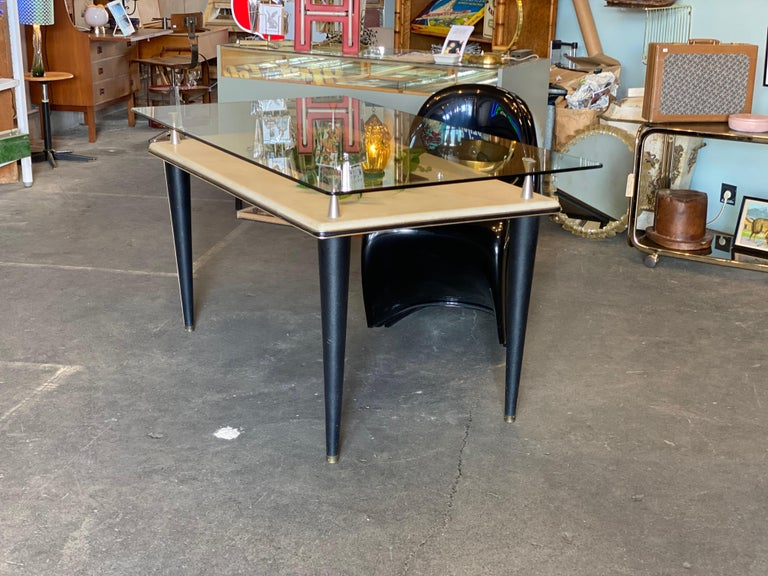 Italian Glass Top Dining Table, Italy, 1950s For Sale