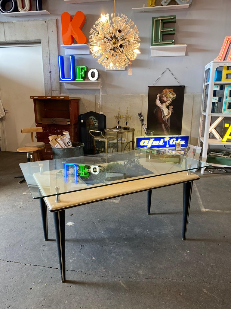 Glass Top Dining Table, Italy, 1950s In Good Condition For Sale In Hamburg, DE